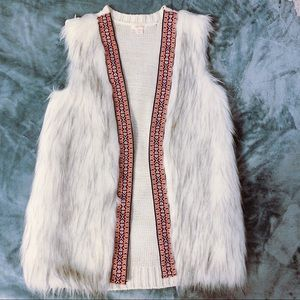 White faux fur vest with tribal print